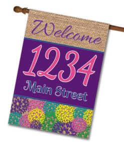 Spring Flowers & Burlap  - Address House Flag - 28'' x 40''