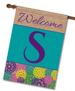 Spring Flowers & Burlap  - Monogram House Flag - 28'' x 40''
