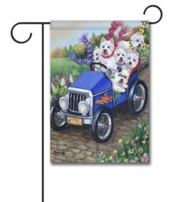 West Highland Terrier Hot Rod - Garden Flag - 12.5'' x 18''