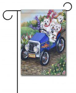 West Highland Terrier Hot Rod - Garden Flag - 12.5'' x 18''