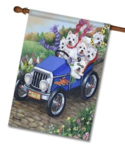 West Highland Terrier Hot Rod - House Flag - 28'' x 40''