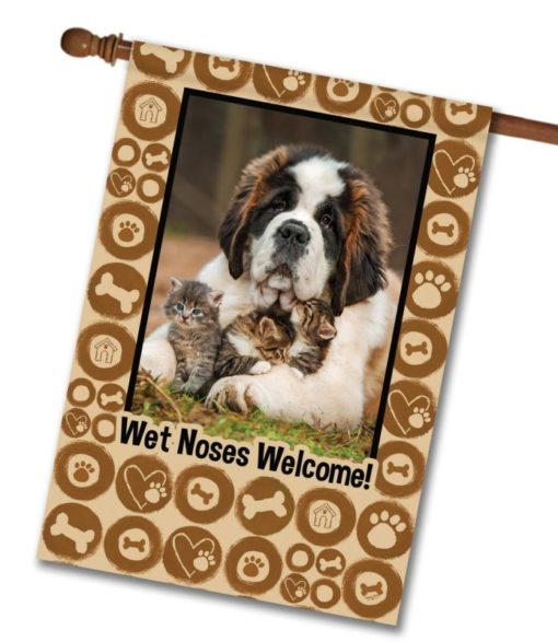 """Wet Noses Welcome  - Photo House Flag 28""""x40"""""""