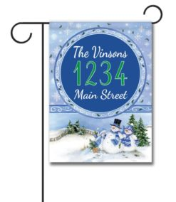 Winter Snowman  - Address Garden Flag - 12.5'' x 18''