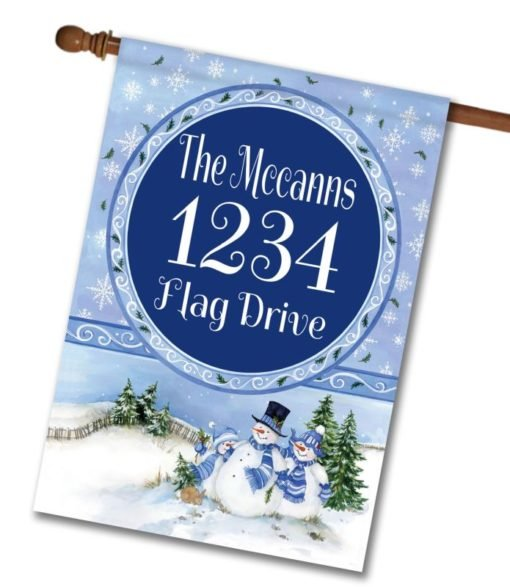 Winter Snowman   - Address House Flag - 28'' x 40''
