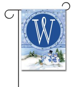 Winter Snowman  - Monogram Garden Flag - 12.5'' x 18''