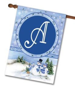 Winter Snowman   - Monogram House Flag - 28'' x 40''