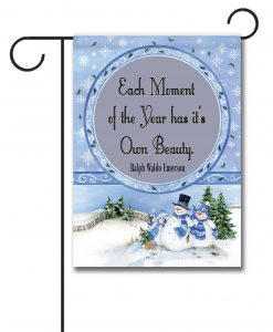 Winter Snowman  - Quote Garden Flag - 12.5'' x 18''