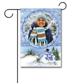 Winter Snowman  - Photo Garden Flag - 12.5'' x 18''