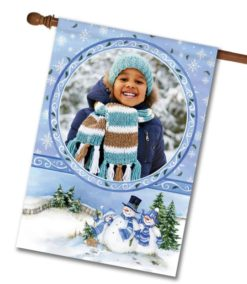 Winter Snowman  - Photo House Flag - 28'' x 40''