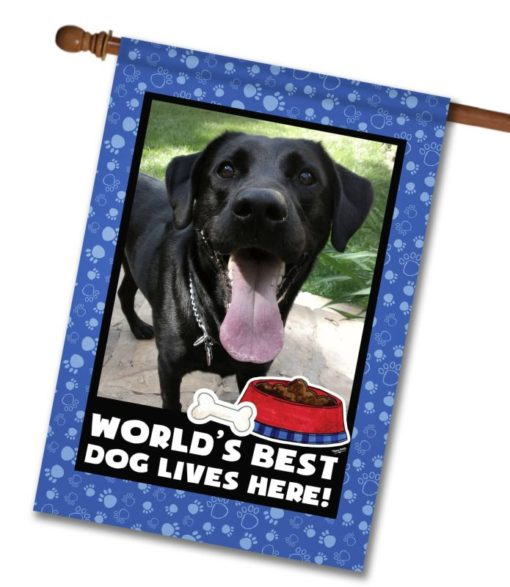 "World's Best Dog - Photo House Flag 28""x40"""