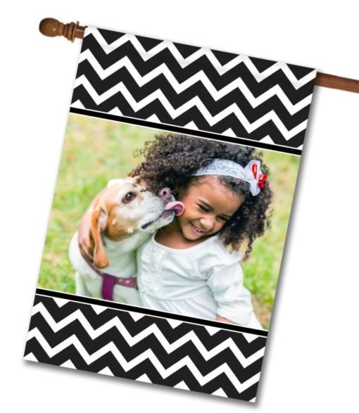 "Chevron - Black & White  - Photo House Flag 28""x40"""