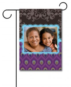 Damask Peacock, Horizontal Frame - Photo Garden Flag - 12.5'' x 18''