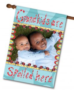 "Grandkids Spoiled Here  - Photo House Flag 28""x40"""
