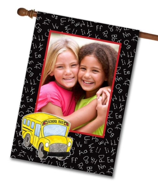 """Off To School  - Photo House Flag 28""""x40"""""""