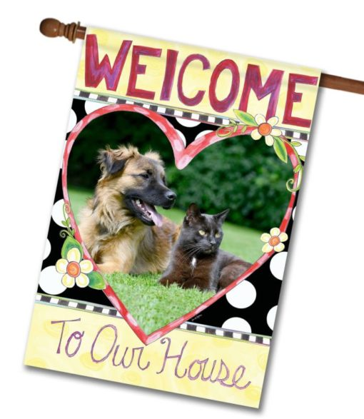 "Welcome to Our House  - Photo House Flag 28""x40"""