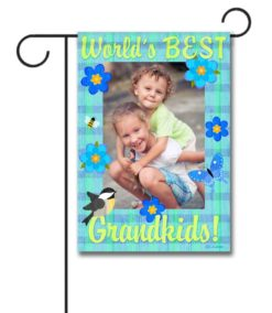 World's Best Grandkids- Photo Garden Flag - 12.5'' x 18''