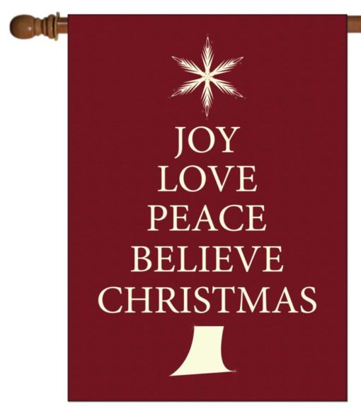 Believe Christmas Tree- House Flag - 28'' x 40''