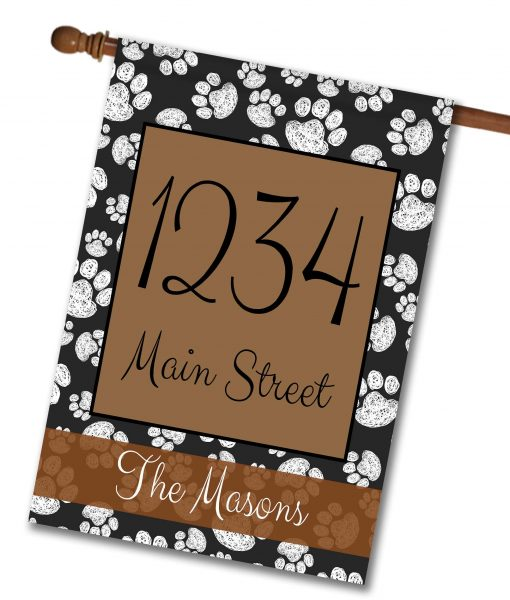 black-and-white-paw-prints-personalized-address-house-flag