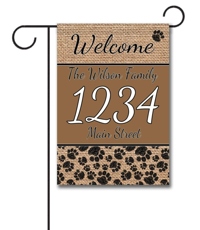 garden flags personalized. burlap-welcome-dog-personalized-address-garden-flag garden flags personalized y