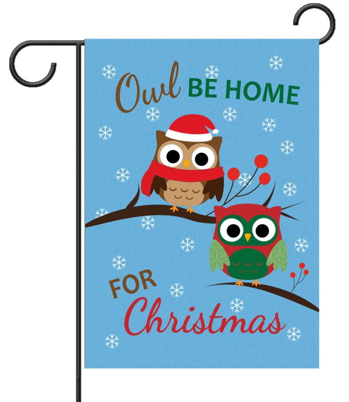 Owl Be Home For Christmas Garden Flag 12 5 X 18
