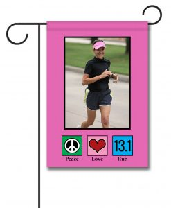 Peace Love Run 13.1 Pink  - Photo Garden Flag - 12.5'' x 18''