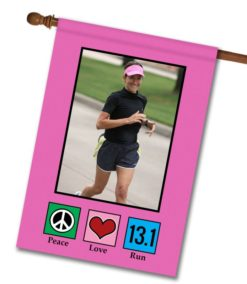 "Peace Love Run 13.1 Pink - Photo House Flag 28""x40"""
