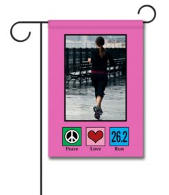 Peace Love Run 26.2 Pink   - Photo Garden Flag - 12.5'' x 18''
