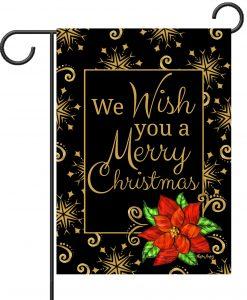 Poinsettia Christmas Wishes - Garden Flag - 12.5'' x 18''