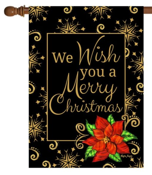 Poinsettia Christmas Wishes - House Flag - 28'' x 40''