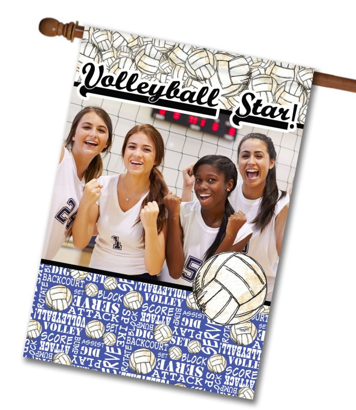"""Volleyball Star - Photo House Flag 28""""x40"""""""