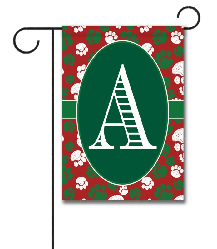Christmas Paws Monogram Garden Flag 12 5 39 39 X 18