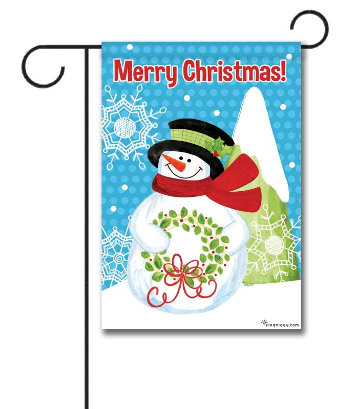 Merry Christmas Snowman Garden Flag 12 5 X 18