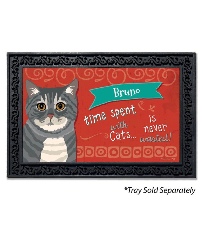 Personalized Time Spent With Cats Gray Tabby Cat Doormat