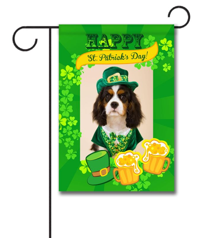 happy st  pat u0026 39 s cheers - photo garden flag - 12 5 u0026 39  u0026 39  x 18 u0026 39  u0026 39