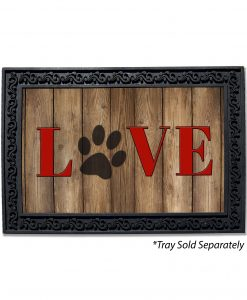Love Dog Paw Print Doormat