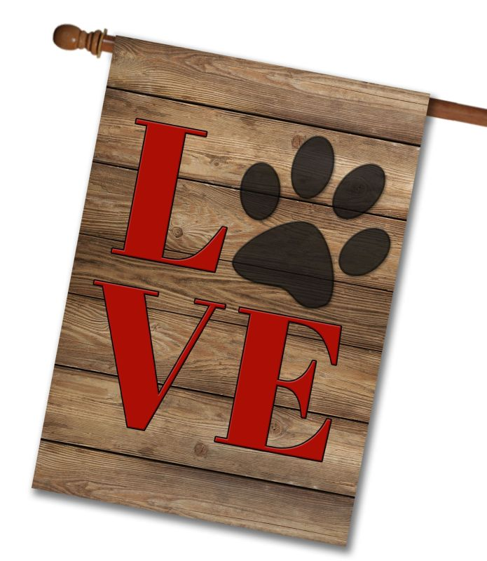 Love Paw Print House Flag 28 Quot X 40 Quot Custom Printed