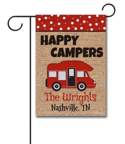 Happy Campers Personalized Garden Flag 12 5 X 18