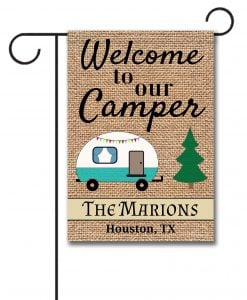 Personalized Burlap Camping Welcome Garden Flag