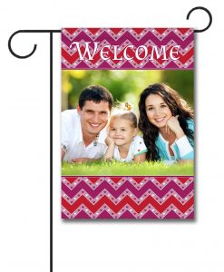 Valentine's Day Chevron Garden Photo Flag
