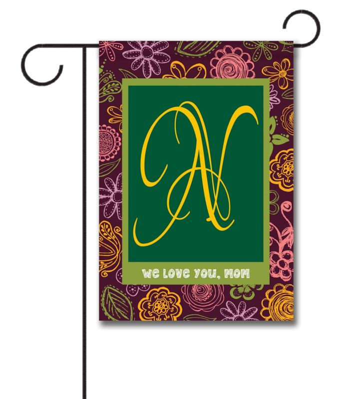 We Love You Mom Purple Monogram Garden Flag 12 5 39 39 X