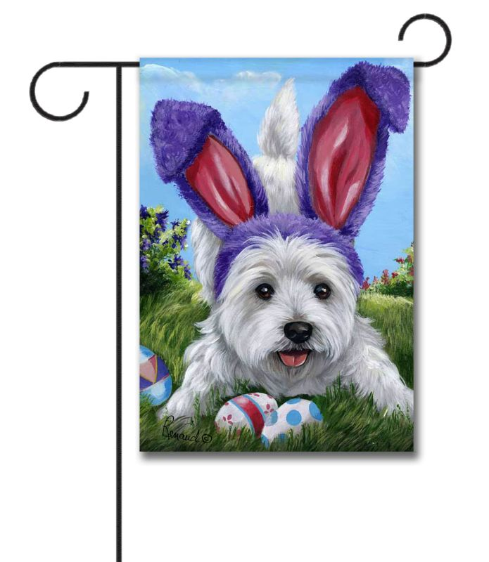 west highland terrier egg hunt - garden flag - 12 5 u0026 39  u0026 39  x 18 u0026 39  u0026 39