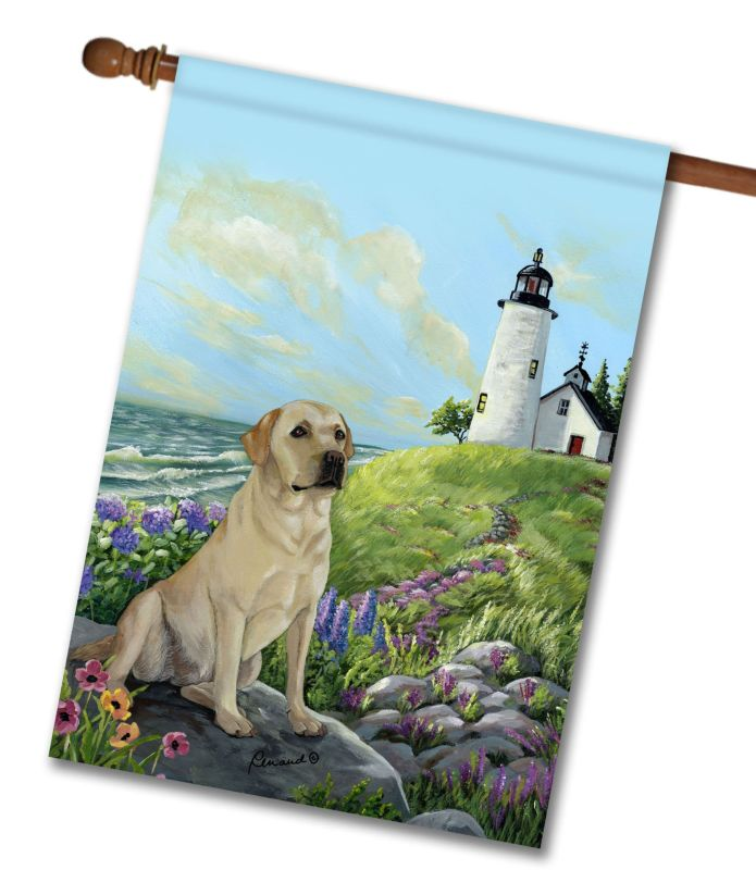 Yellow labrador retriever rocky point house flag 28 for Dog house for labrador retriever