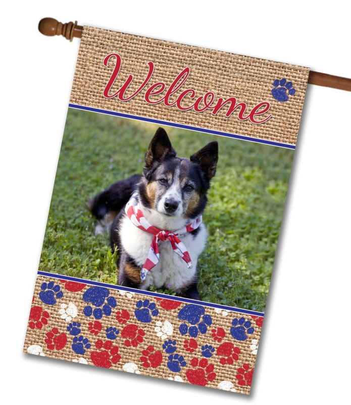 patriotic dog paws  u0026 burlap - photo house flag - 28 u0026quot  x 40 u0026quot