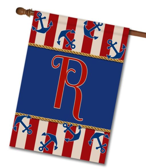 Anchors Aweigh!  - Monogram House Flag - 28'' x 40''