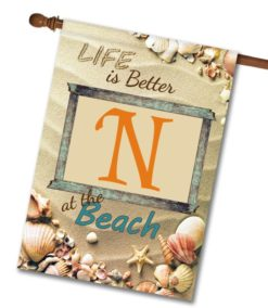 Better at the Beach - Monogram House Flag - 28'' x 40''