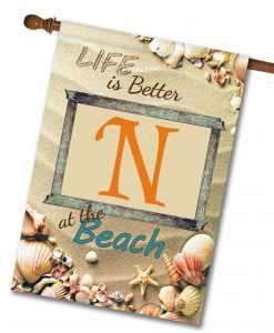 Better at the Beach - Monogram House Flag - 28'' x 40''