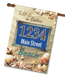 Better at the Beach - Address House Flag - 28'' x 40''