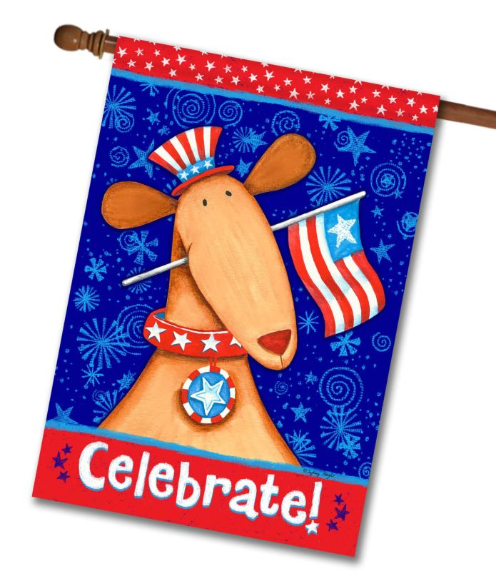 Celebrate! Patriotic Dog- House Flag - 28'' x 40''