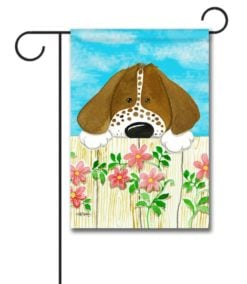 Dog on the Fence- Garden Flag - 12.5'' x 18''