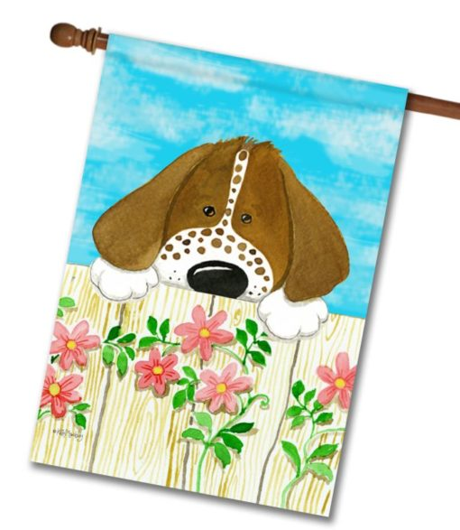Dog on the Fence- House Flag - 28'' x 40''